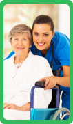 Caregiver smiling with her patient