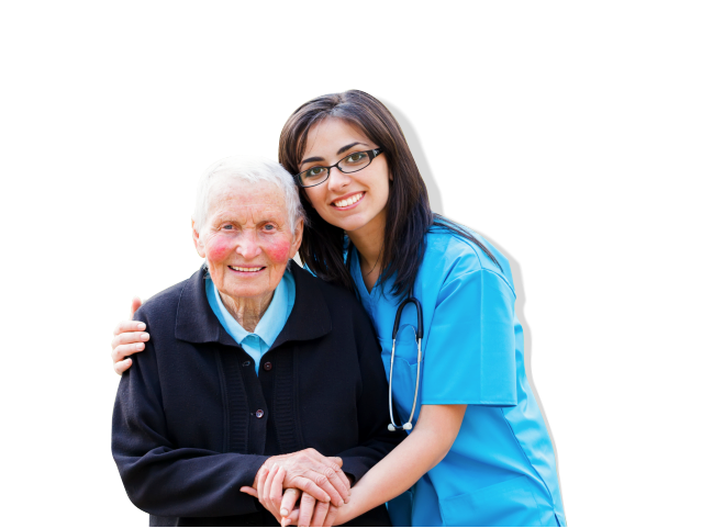 Old woman holding hands with her caregiver